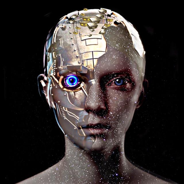 #cyber #neon #robot #halffaced