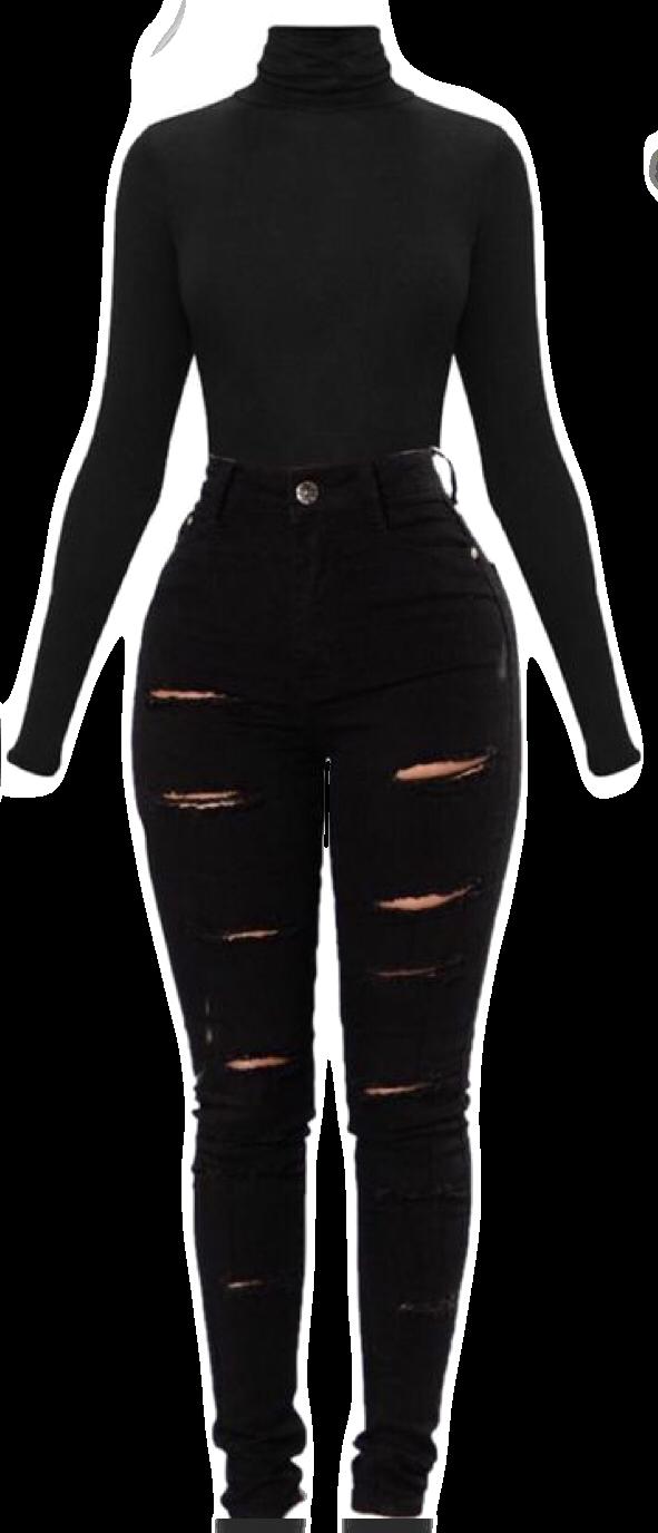 #jumpsuit #blackonblack #rippedjeans #longsleeveshirt