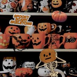 halloween spookyscaryskelotons pumpkins freetoedit
