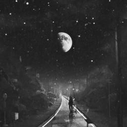 freetoedit night walks street stars neighborhood blackandwhite