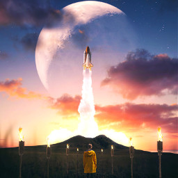 picsart freetoedit remixit sunset sunrise sun clouds glow sky stars night moody dark light color background view png silhouette nasa rocketship spaceship torch tikitorch valley
