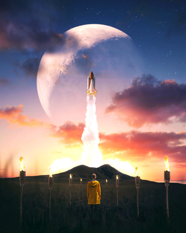 #picsart #freetoedit #remixit #sunset #sunrise #sun #clouds #glow #sky #stars #night #moody #dark #light #color #background #view #png #silhouette #nasa #rocketship #spaceship #torch #tikitorch #valley