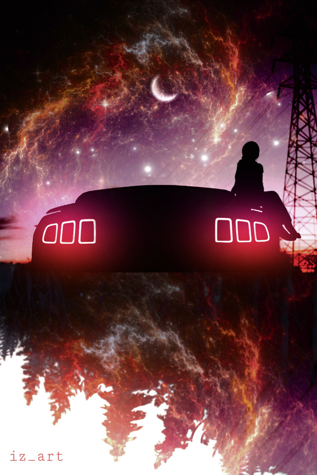 #madewithpicsart #night #neon #silhouette #sky  #manipulation #surreal #car