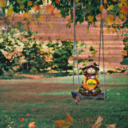 fall autumn trees leaves scarecrow welcome text swing backyard effects ircfunswing funswing