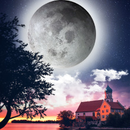 freetoedit myedit editedbyme madewithpicsart supermoon fullmoon surreal night nightsky araceliss heypicsart fantasy