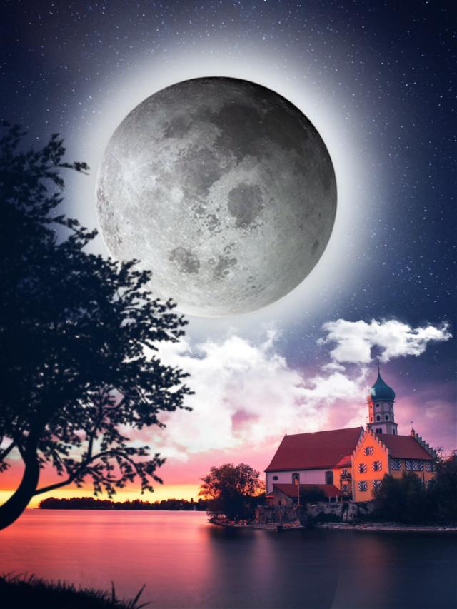 La noche 😊 The night😊  #freetoedit #myedit #editedbyme #madewithpicsart #supermoon #fullmoon #surreal #night #nightsky #araceliss #heypicsart #fantasy