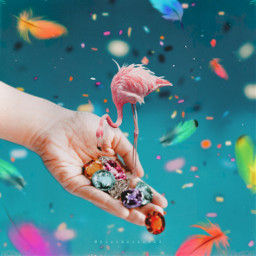 madewithpicsart madebyme myedit colorful flamingo swarovski confetti magical hand