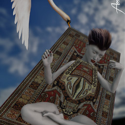 freetoedit fallen girl carpet swan