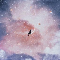 girl edit children silhouette stars star starry night sky cloud clouds dark sparkle sparkles magic dream dreamy fantasy imagination surreal tale moon magical beauty beautiful freetoedit