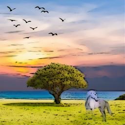 comiceffect lake landscape horse tree freetoedit