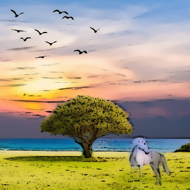 #comiceffect #lake #landscape #horse #tree