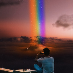 rainbow sky clouds glitter bright shine colorful boy man awesome amazing fantasy madewithpicsart papicks picsartpicks pickme remixit heypicsart background freetoedit