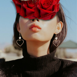 freetoedit redroses butterflies girl earrings heartshape roses madewithpicsart surrealistic alittleedit