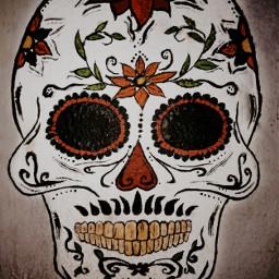 wall pintura calavera mexico calaveramexicana flores calaverita calaverasmexicanas calaveranochilla freetoedit