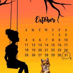 oktober october calendar kalender halloween freetoedit