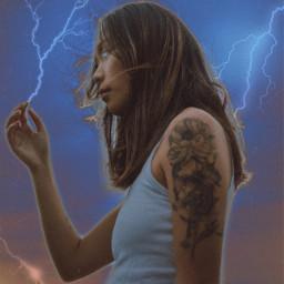 interesting lightning rayo art myedit newedit picsart girl power freetoedit