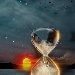 runnningoutoftime hourglass sand storm drown sunset freetoedit