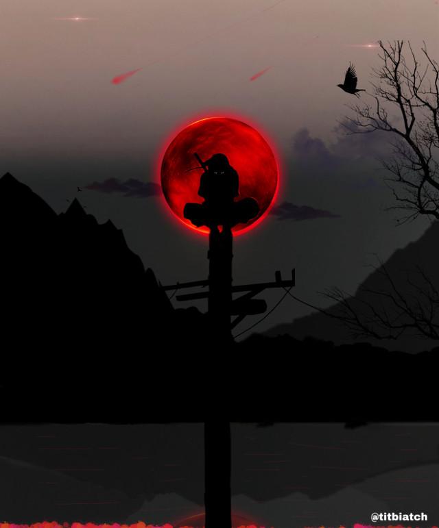 #art #itachi #clouds #crows #mountains #lake #redmoon #red #black #blackandred #shinobi #konoha #itachiuchhiha #uchiha #uchihaclan #naruto #akatsuki #blood #assassination @titbiatch #wallpaper
