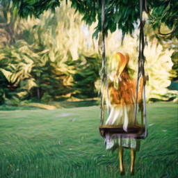 oilpainting girl swing ircfunswing funswing freetoedit