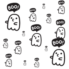 freetoedit boo halloween spooky aesthetic ghost scary sticker pencil brush cute lovely try text create overlay background animation simple october september doodle littleghost creepy black