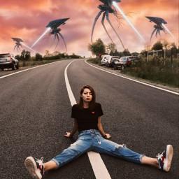 freetoedit edit picsart madewithpicsart heypicsart makeawesome surrealism visualart art creative girl street alien invasion sky sunset