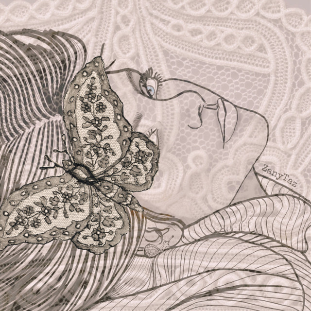 #myedit #editedwithpicsart #artisticportrait #lace #butterfly #outline #drawing @piroskab #freetoedit