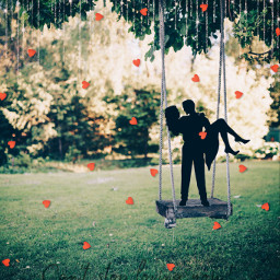 love couples truelove hearts lovingyouforever lovingyoualways lovingyou swings nature ircfunswing funswing freetoedit
