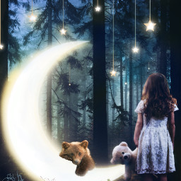 photoremix maskeffect fxtools fxeffects moon moonsandstars dreamscape bearlove forestwalk nightforest freetoedit