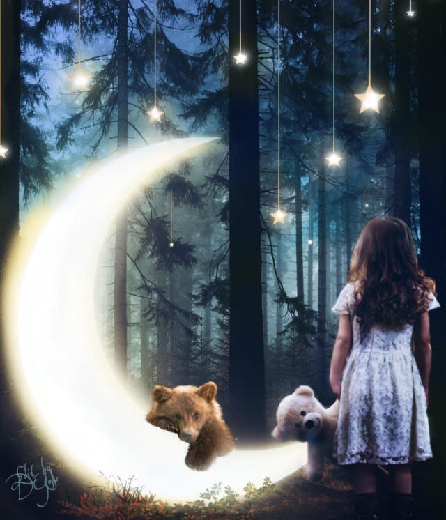 #photoremix,  #maskeffect,  #fxtools, #fxeffects, #moon, #moonsandstars , #dreamscape , #bearlove , #forestwalk , #nightforest