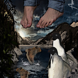 bob nacked feets pinguins sky mountains snow jeans boots fallingdown river freetoedit