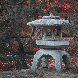 lantern stonelantern stone trees red water pond grass atmosphere culture japanese asian garden japanesegarden botanicalgarden photo photograpy canon canon700d photoshop photoshopcs5 freetoedit