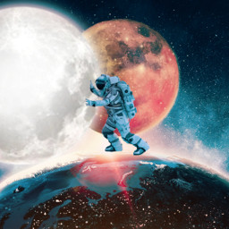 picsart myedit myremix surreal freetoedit space spaceman moon pushing outterspace shutterstock