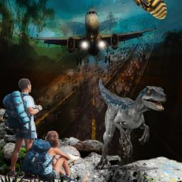 two surreal tripleexposure dinosaur wasp highway plane wanderer freetoedit