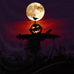 halloweenscream moonlight scarecrow cornfield keepitsimple123 freetoedit