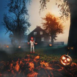 manipulation madewithpicsart halloweenscream halloween2020 pumpkins clown terrifying colochis89 freetoedit
