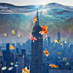 freetoedit underthesea blue fish goldfish hdr dodgereffect building surreal underwater inspiration stayinspired madewithpicsart