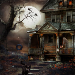 hauntedhouse halloweenfun frightnight ghost halloweenspirit fullmoon mysteriousmoon spirits halloweencat halloweenscream freetoedit