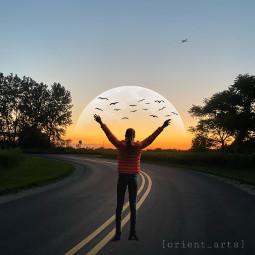 mastershoutout sunset moon girl birds freetoedit