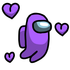 amongus sticker purple heart use cute love inlove purplehearts purpleheart imposter among us freetoedit