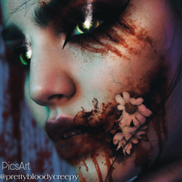 photography fantasy fx makeup dark bloody creepy horror scary demon flowers scars cuts bruised girl glowingeyes halloween2020 model effects myedit donotremix donotsteal donotuseforyouredits injured gore