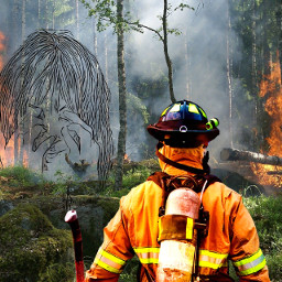 fire fireman forest woods womanpencildrawing drawing aer fantasy surreal manipulation freetoedit