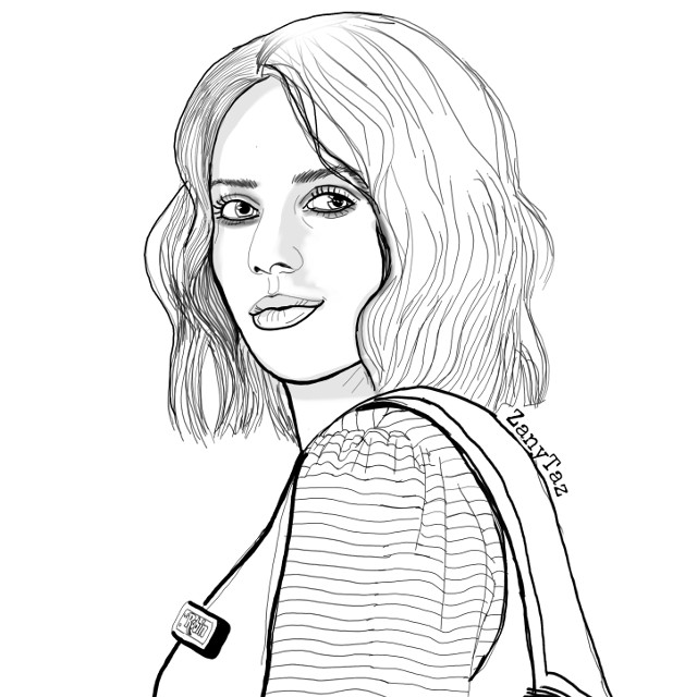 #celebrity #portrait #drawing #outline #outlineart #sketch #illustration #colorme #myart #strangerthings #netflixseries #Robin #RobinBuckley (portrayed by #MayaHawke) is an #alternativegirl who works alongside Steve at Scoops Ahoy, the Starcourt Mall ice cream parlor. #freetoedit