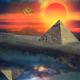 remix pyramids floating space sky galaxy sunset orangesky freetoedit