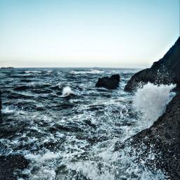 waves cliffside freetoedit