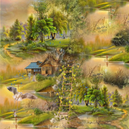 @asweetsmile1 background simple colorful autumn forest mountains cabin beautiful blendedimages freetoedit