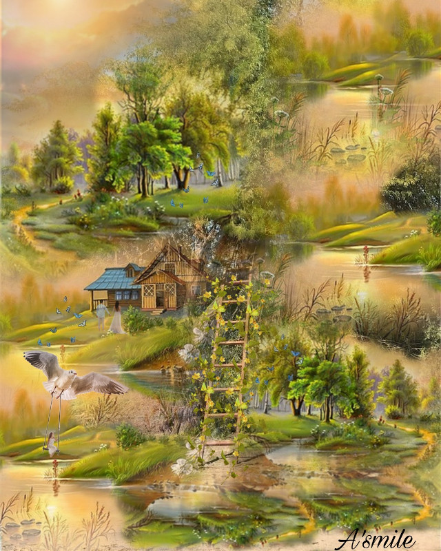 #@asweetsmile1 #background #simple #colorful #autumn #forest #mountains #cabin #beautiful #blendedimages