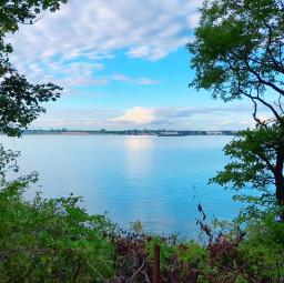 water sky reflection sea cliff scenery freetoedit