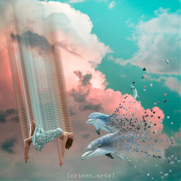 dolphin dispersion dispersiontool motiontool sky clouds floating orient_arts madewithpicsart heypicsart makeawesome picsart freetoedit