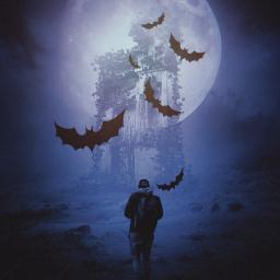 halloween bats spooky ghosthouse hauntedhouse freetoedit