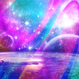 freetoedit glitter sparkle galaxy sky stars planets universe aesthetic colorful rainbow stardust shimmer wallpaper background